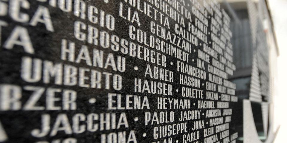 Milan's central synagogue façade deported list © Alberto Jona Falco