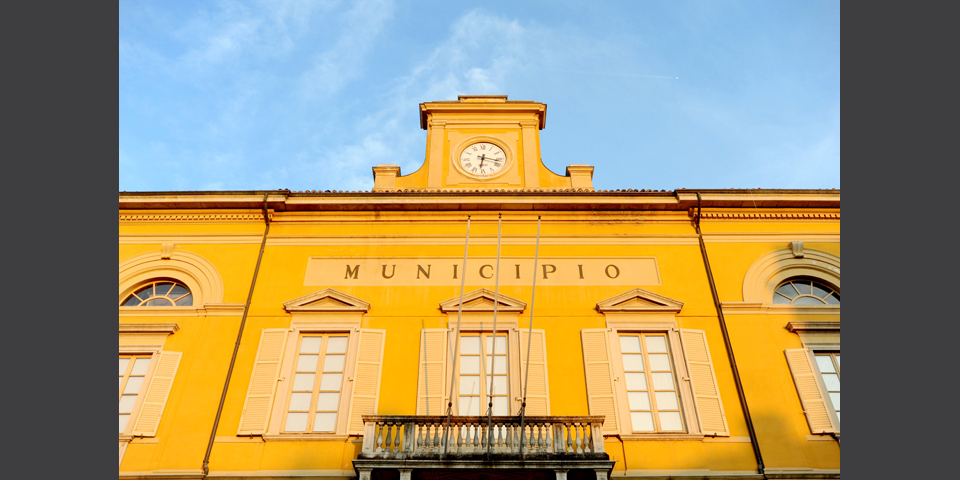 Mortara, detail of Mortara's Town Hall façade © Alberto Jona Falco