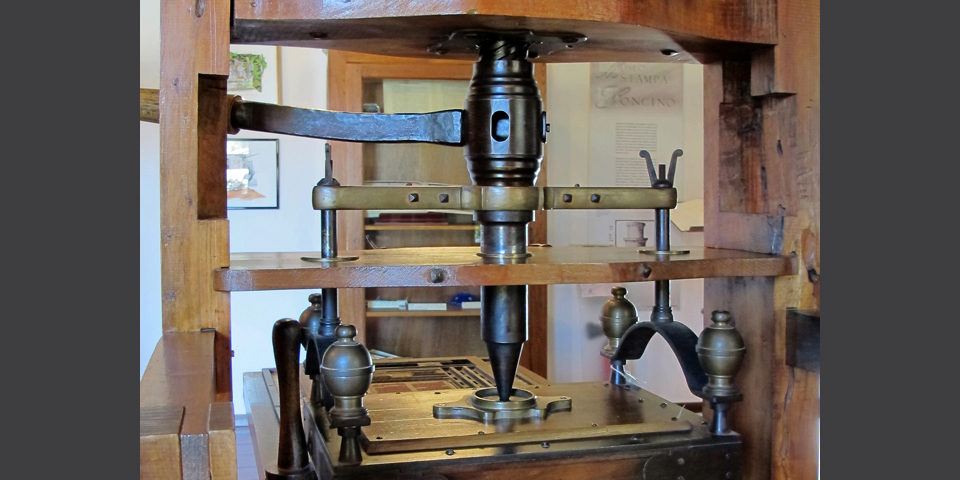 Soncino, detail of printing press © Alberto Jona Falco