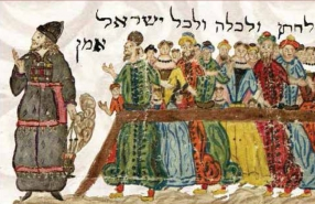 particolare di illustrazione ebrei al tempio