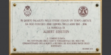 Pavia, in via Foscolo plaque in memory of the stay of Albert Einstein's family © Alberto Jona Falco